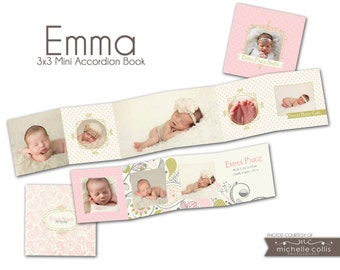INSTANT DOWNLOAD - 3x3 Accordion mini template - Emma - 0722