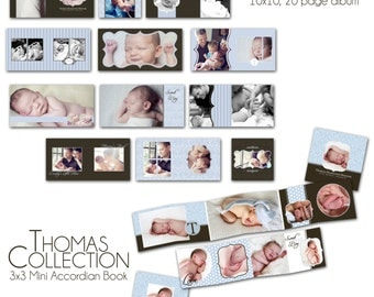 0752 Thomas Collection - 10x10 album and 3x3 mini accordion album - Perfect for baby, family, engagement