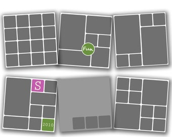 INSTANT DOWNLOAD - Photography 20x20 Storyboard Blog Board Template Collection, Square Corners - set of 6 - 0586