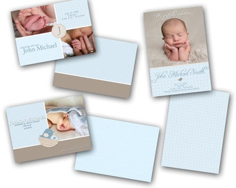 INSTANT DOWNLOAD - Birth announcement photo card templates, 3 pack - 0234-6