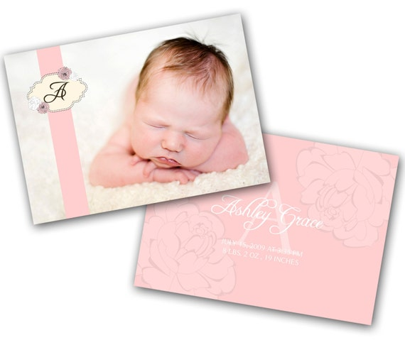 INSTANT DOWNLOAD - Birth announcement photo card template, 5x7 card - 0218