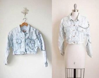 1980s Cropped Jacket/ 80s/ Burnout Denim Jacket