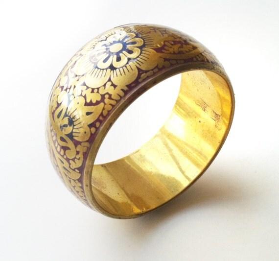 Stacking Bangle Bracelet, Gold BangleThick Vintage Bangle, Flower Bangle,Gold Cuff Bangle Bracelet,Taneesi Jewelry