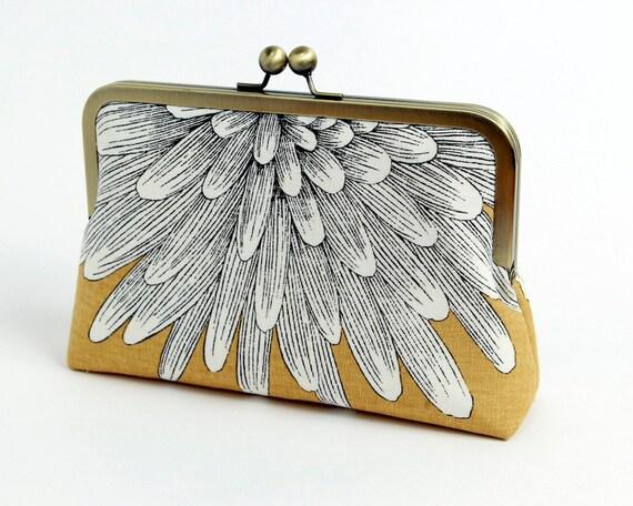 Chrysanthemum Clutch purse, Silk lined yellow floral clutch, BagNoir, Wedding clutch, Bridesmaid gift idea, Evening purse, Bridesmaid clutch
