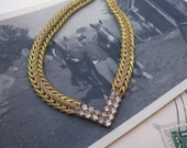 vintage necklace / brass necklace / rhinestones / RHINESTONE COLLAR