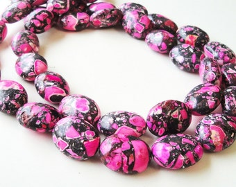 """Pink Mosaic Beads -  Oval Beads - Pink Black Gemstone Beads - Bio Color Drilled Stone - 20mm - 16"""" Strand - Jewelry Project - Diy Craft"""