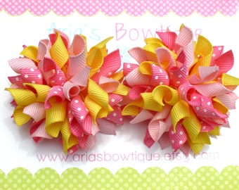 Mini Pink Lemonade Korker Hair Bows