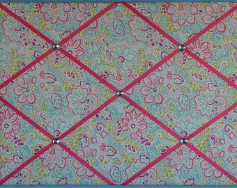 Flower french memo board, pink, turquoise blue, green, purple, 18 x 24, large