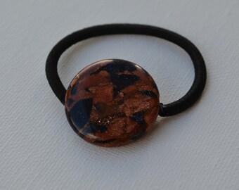 Dark blue with gold metallic shimmer glass bead, ponytail holder