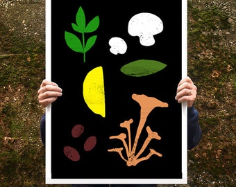 "Good Food 1 Kitchen Poster print  20""x27"" - archival fine art giclée print"