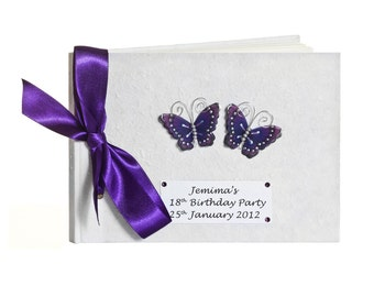 Purple Butterfly Guest Book - Birthday or Wedding