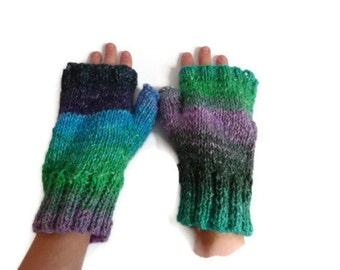 fingeless gloves wristwarmers silk mohair wool uk seller