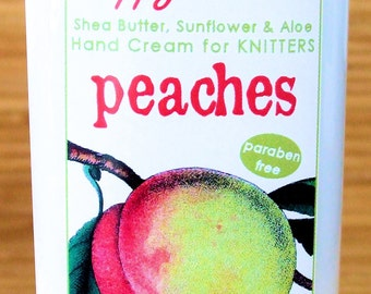 Peach Scented Hand Cream for Knitters - 4oz Medium HAPPY HANDS Shea Butter Hand Lotion Paraben-Free