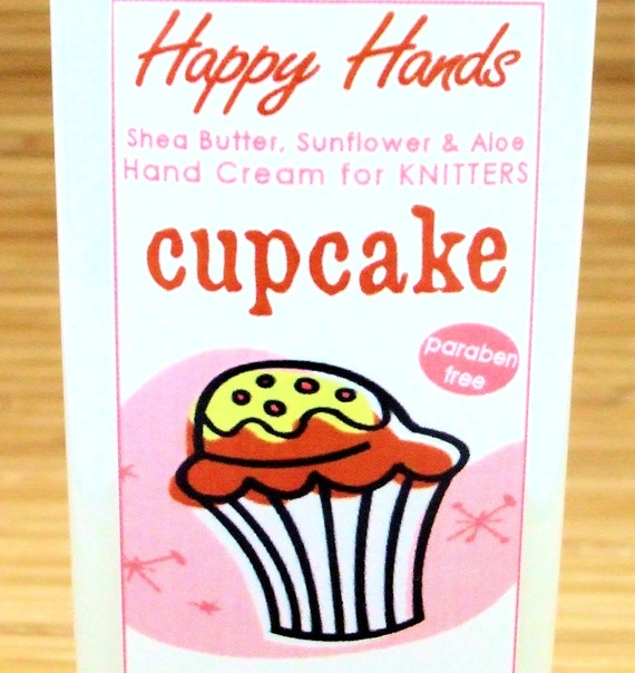 Cupcake Scented Hand Cream for Knitters - 4oz Medium HAPPY HANDS Shea Butter Hand Lotion