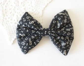 Kawaii Hair Bow, Music Note Hair Bow, Black and White Bow