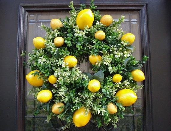 Lemon Wreath Lemon Kitchen Decor Boxwood Wreath Spring