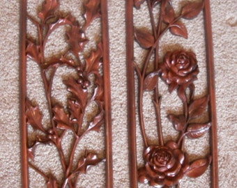 Red Black Wall Plaques Flower Floral Rose Hanging Decor