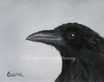 Crow Print 5 x 7 Raven print. Baby Got Beak. Giclee Print