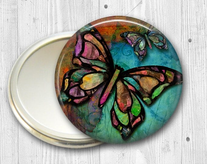 colorful butterfly pocket mirror, gift for her, original art hand mirror, mirror for purse, gift for her,  bridesmaid gift  MIR-315