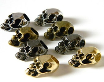8 - Metal Alloy Skull Beads For Paracord Bracelets, Lanyards, & Other Projects (1 Each, Vertical/Horizontal Hole)