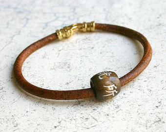 Men's Thick Bracelet 4mm Dark Brown Leather Chinese Lucky Symbol Surfer Surf Wrap, Mens Bracelet, Mens Jewelry