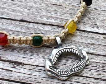 Hemp Choker Necklace With Pewter Shark Jaw Pendant Rasta Colors