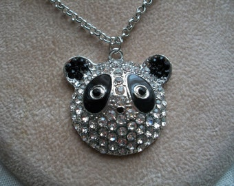 Panda Bear Necklace with Clear Rhinestones, by Brendas Beading on Etsy