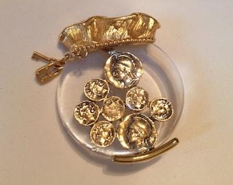 Vintage Gold Coins Bag O Money Brooch