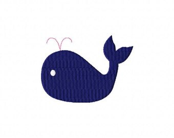 Whale MINI Filled Stitch Machine Embroidery Design INSTANT DOWNLOAD