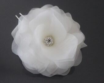 Silk Hair Flower-White, Off White, Ivory, Blush Pink, Champagne-Style No.536