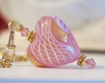 Venetian Zanfirico Pink Heart 14K Gold Fill Necklace