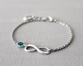 Infinity Bracelet.  infinity link with Swarovski birthstone crystal channel , monogram initial