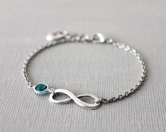 Infinity Bracelet. infinity link with Swarovski birthstone crystal channel , monogram initial personalized jewelry. bridesmaid wedding gift