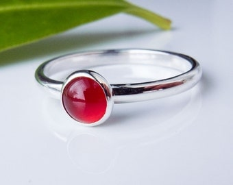Carnelian Stacking Ring in Sterling Silver.