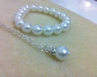 Flowergirl jewelry - bracelet and simple elegant necklace gift set -  weddings, flowergirl jewelry
