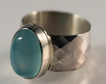Oval blue chalcedony and sterling silver ring