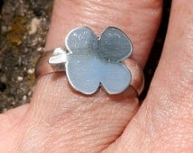 Sterling Silver 4 Leaf Clover Ring Brushed Satin and Polished Finish Wide Band Size 6 and a half