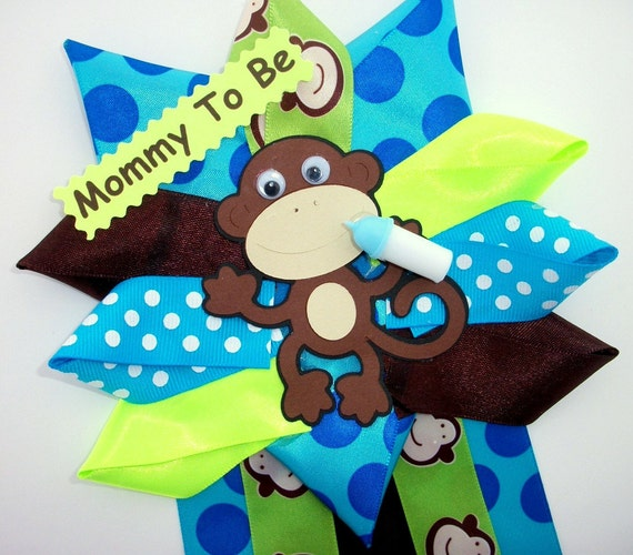 Monkey Baby Shower Corsage - Baby Boy -  Ready To Ship