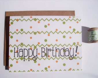 Birthday Card - Polka Dots Chevron Birthday Greeting Card, Modern Dots Chevron Stripes Olive Green Yellow Happy Birthday Card, Minimalist