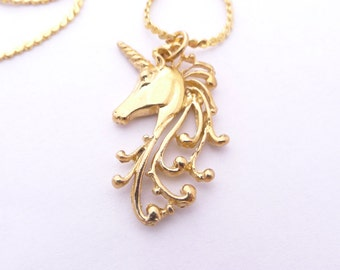 Vintage Gold Unicorn Necklace