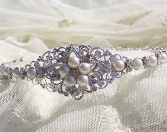 Bridal Headband -  Wedding Headband-  Rhinestones and Pearls Headband--Bridesmaid Headband- Flower Girl Headband- Prom Headband