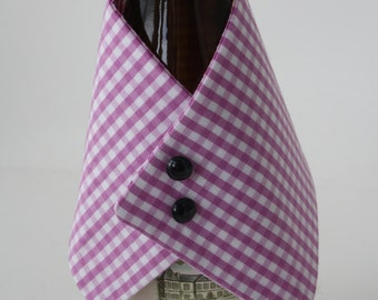Purple and White Gingham Wine Jacket Accessory