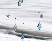 Aqua Geometric Hanging Mobile Blue Green Turquoise Glass Crystal and Copper