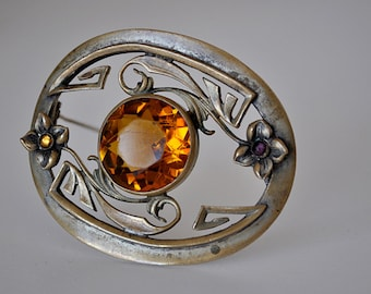 Beautiful Art Nouveau Sash Pin Brooch