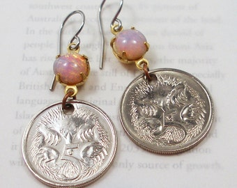 Australia, Coin Earrings - - Feathertail Glider - - One Cent - Penny - Copper Patina - World Treasures