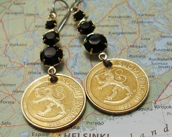 Finland, Vintage Coin Earrings --- Coat of Arms of Finland --- Finnish - Europe - Travel - Vacation - Old World - Leo - Lion - World History