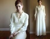 1970s Vintage White/Cream Formal Dress