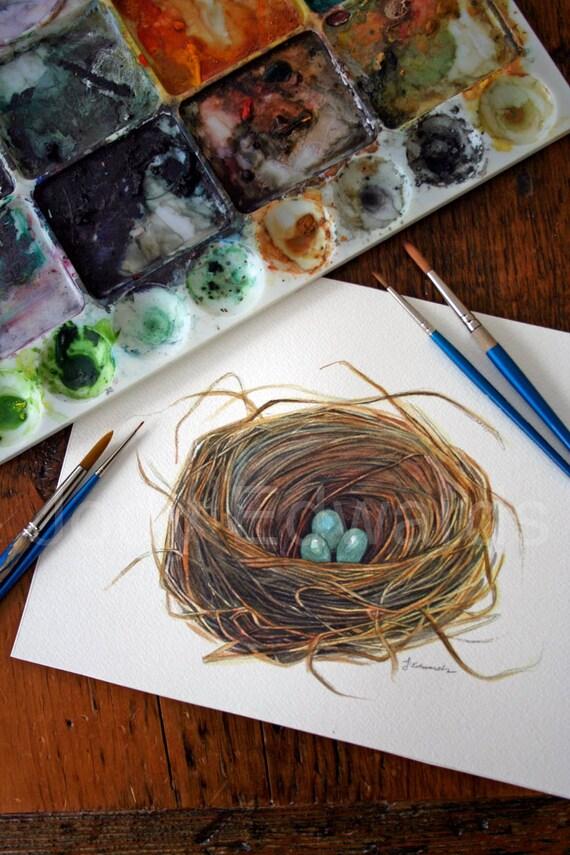 Watercolor Birds Nest Painting Original Watercolor