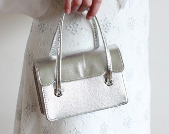 evening bag -  silver 60s metallic purse - prom - wedding - small handbag - purse