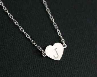 Initial heart necklace, personalized necklace, initial necklace, sterling silver, mother's day gift, wedding bridesmaid gifts, friendship